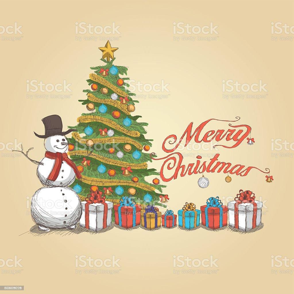 Ilustracion De Fondo Vintage Navidad Y Feliz Navidad Letras - Vintage-navidad