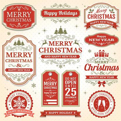 Christmas vintage badges and frame