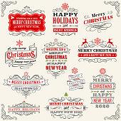 Christmas Vintage Badges stock illustration