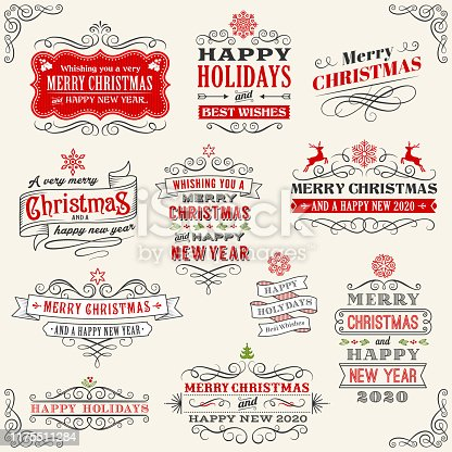 Christmas Vintage Badges stock illustration
