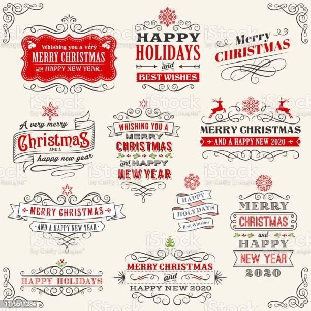 Vetores de Emblemas Do Vintage Do Natal Ilustração Stock e mais imagens de 2017