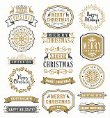 Vector illustration of the christmas vintage badges
