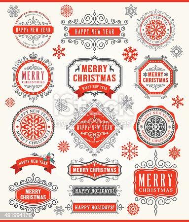 istock Christmas Vintage Badges 491994176
