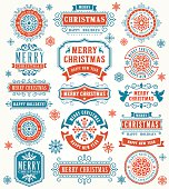 Vector illustration of the Christmas and Happy New Year badges.