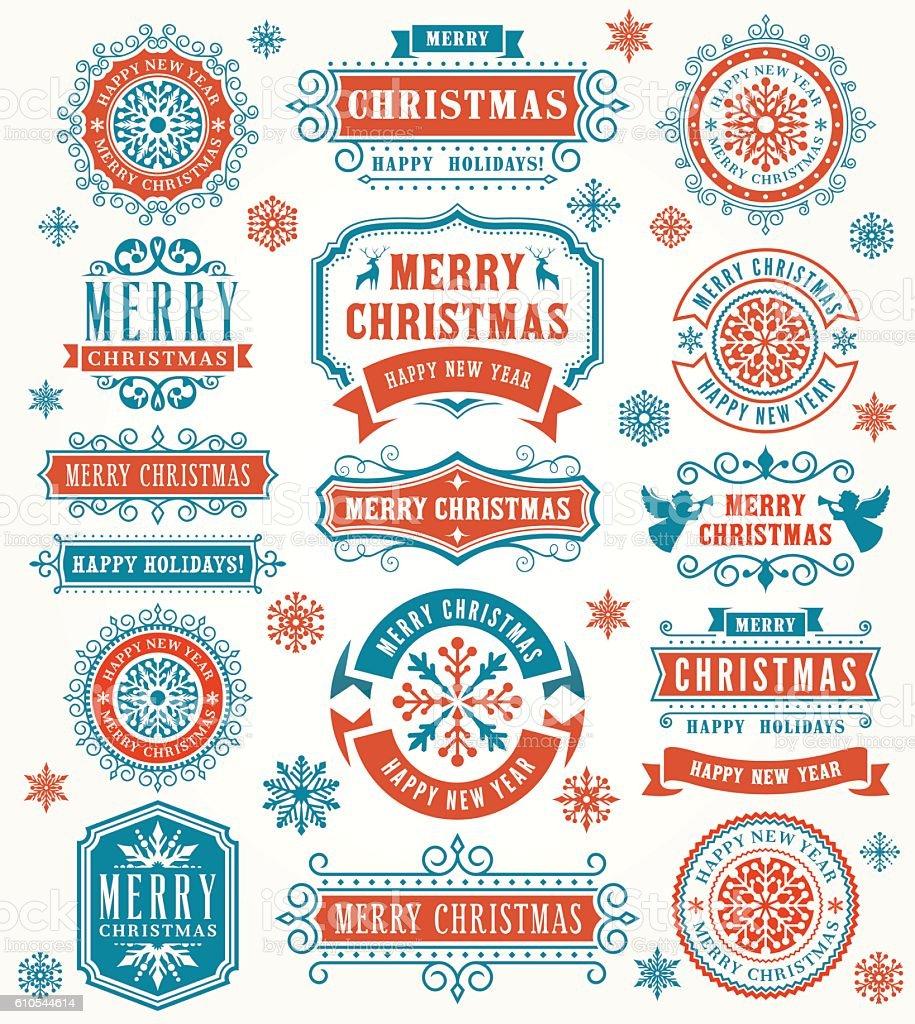 Christmas Vintage Badges vector art illustration