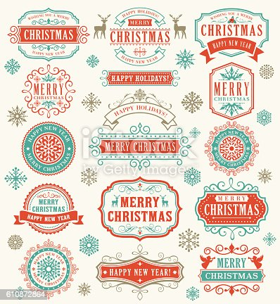 Vector illustration of the christmas badges.