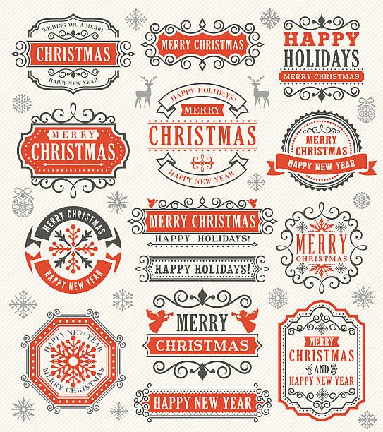 weihnachten vintage-abzeichen - ferien und feiertage stock-grafiken, -clipart, -cartoons und -symbole