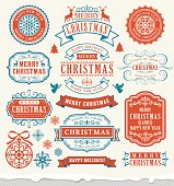 Vector illustration of the christmas vintage badges.