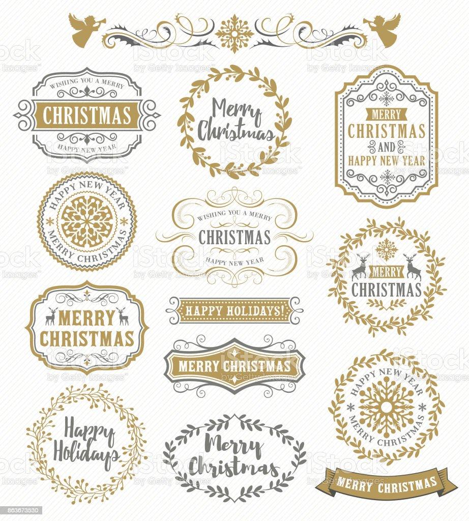 Weihnachten Vintage-Abzeichen – Vektorgrafik