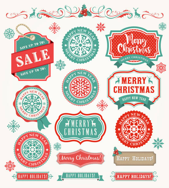 christmas vintage badges - vacations stock illustrations