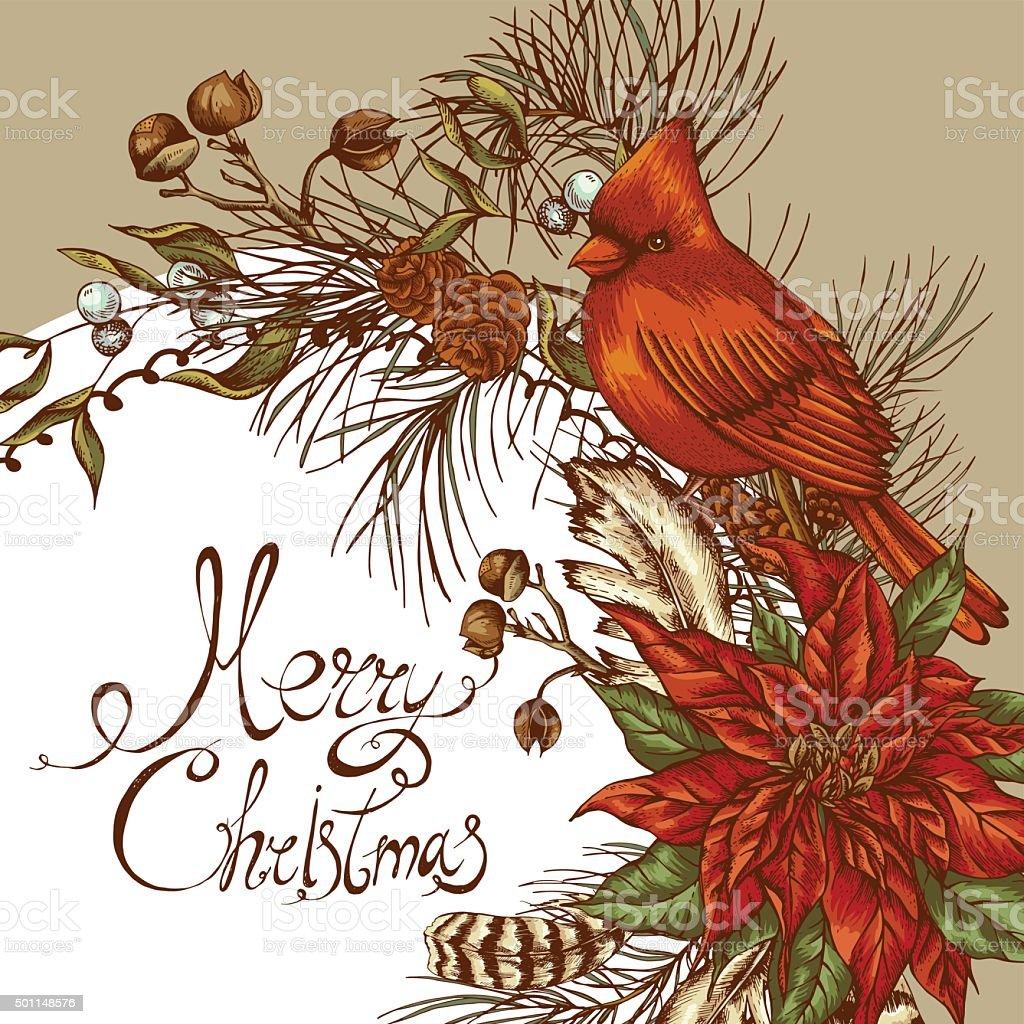 Vintage Bilder Weihnachten.Weihnachten Vintage Floral Grußkarte Stock Vektor Art Und Mehr