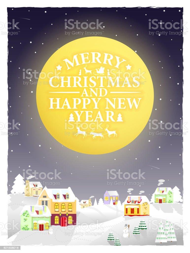 Christmas vintage greeting card on winter landscape. christmas vintage greeting card on winter landscape - immagini vettoriali stock e altre immagini di albero royalty-free