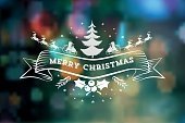 christmas vintage icon on blurred  green background