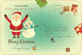 Vintage Postcard with Christmas and New Years Greeting. Backdrop of Postal Card with Postage Stamps for Winter Holiday. Santa Claus and Snowman. Vector Illustration.