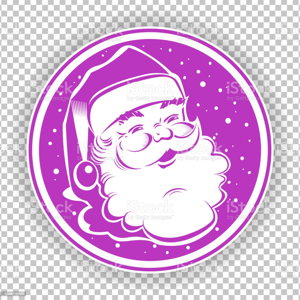 7f4ce10559afc Christmas Violet Round Sign Stamp With Silhouette Of Santa Claus ...