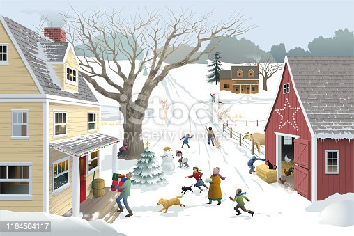 Children and dogs play in a snowy rural lane between a yellow house and red barn, when two older adults come to their home with presents and a cake.