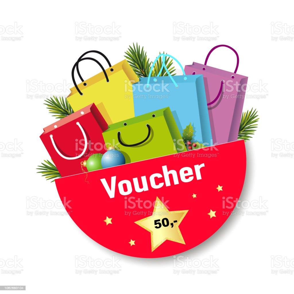 Weihnachten Gutschein Button in Englisch, Wert 50, - mit shopping Taschen,  Tannenzweigen,