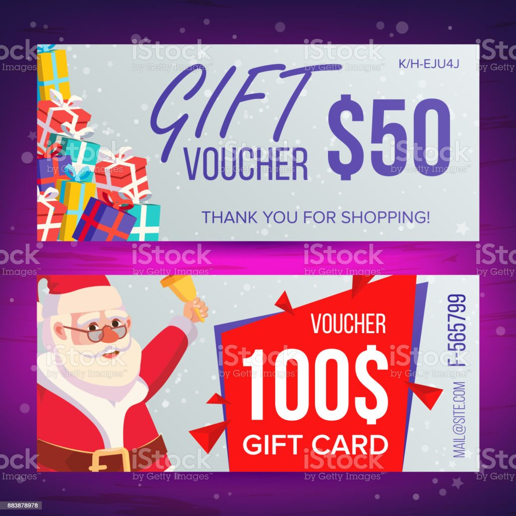 Christmas voucher template vector horizontal card happy new year christmas voucher template vector horizontal card happy new year santa claus and gifts yelopaper Choice Image