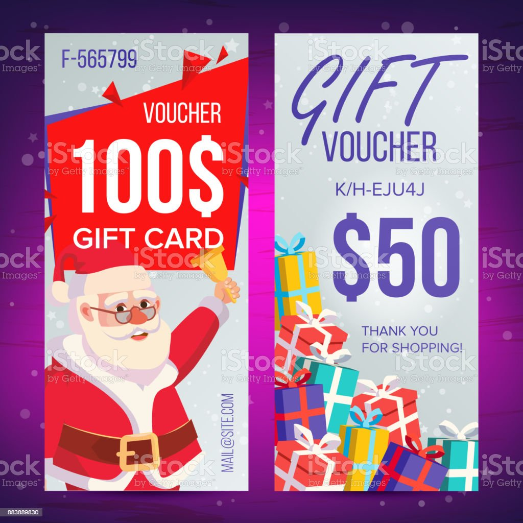Christmas Voucher Vector Vertical Banner Merry Christmas Santa Claus ...