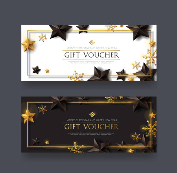 Christmas voucher with black gold stars and snowflake ,gift card,discount,coupon,Vector illustration. vector art illustration