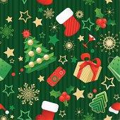 Vector illustration of the seamless christmas wallpaper - green.