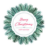 Christmas Watercolor Wreath Fir Tree.An original artwork vector illustration with typography. This inspirational design can be a postcard, web banner, shop window, invitation, poster or flyer.