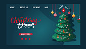 Christmas webpage vector merry xmas landing page with christmas-tree and new year website template illustration of decorated xmas-tree design greeting banner on web-page background