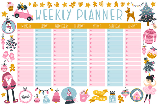 Christmas weekly planner with cute characters and holiday items. Fashionable vector illustration in childish hand-drawn style. Limited pastel palette ideal for printing