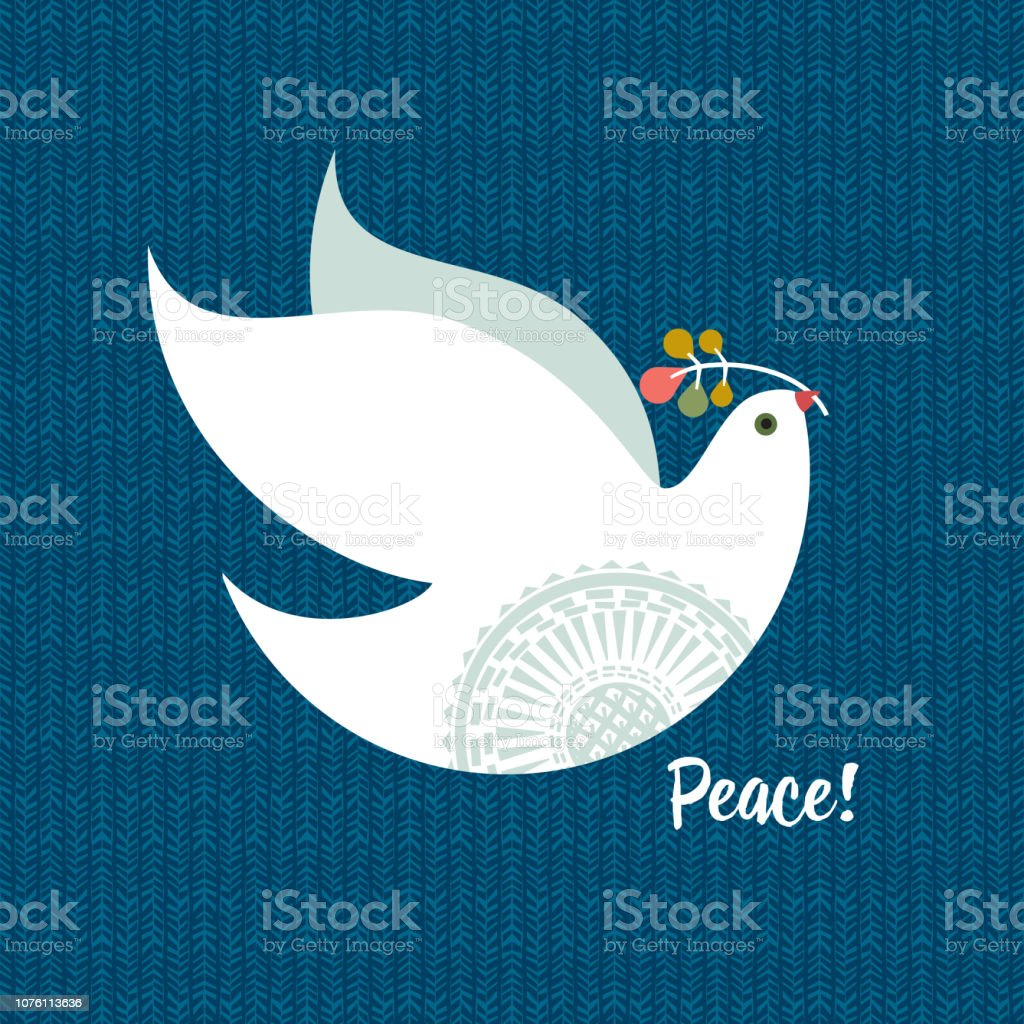 Christmas Dove vector art illustration
