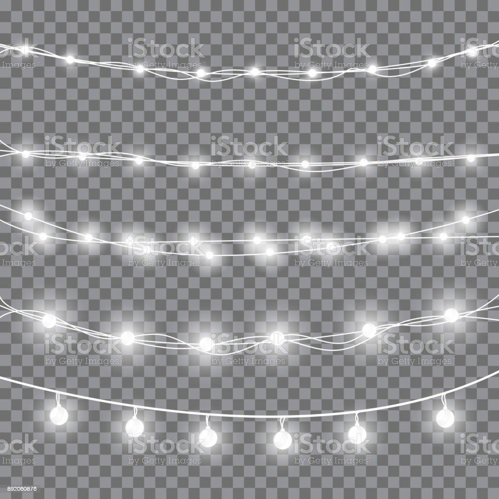 Weiße Weihnachtsbeleuchtung – Vektorgrafik