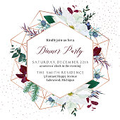 Christmas white poinsettia, parvifolia eucalyptus, fir, agonis, juniper vector design winter frame.Gold polygonal line art snowflake with glitter.Geometric card.Party invitation.Isolated and editable