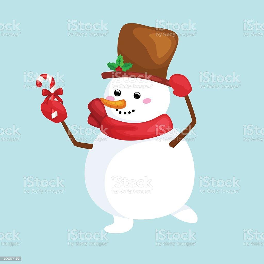 christmas white snowman in hat and scarf with candy for christmas white snowman in hat and scarf with candy for - arte vetorial de stock e mais imagens de boneco de neve royalty-free