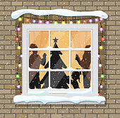 Christmas window with tree silhouette, family decorated room and New Year tree for Christmas. Merry christmas holiday. New year and xmas celebration. Vector illustration flat style