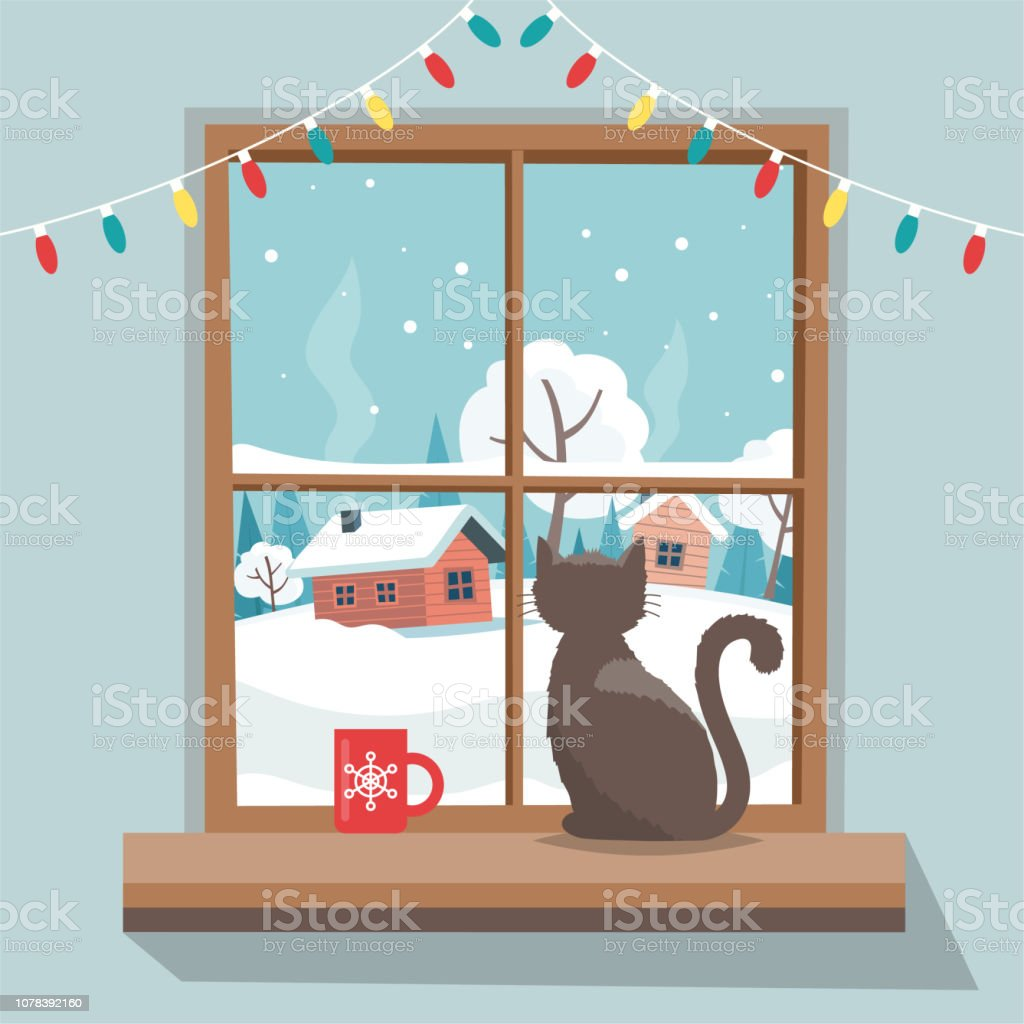 weihnachtsfenster mit winterlandschaft katze auf der. Black Bedroom Furniture Sets. Home Design Ideas