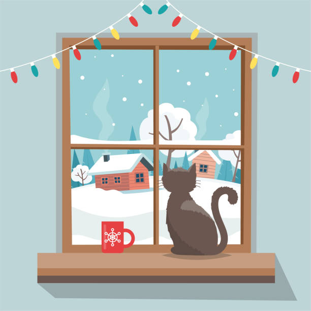 christmas window with winter landscape, cat sitting on the window sill.  merry christmas greeting card template. vector illustration in flat style - christmas background stock illustrations