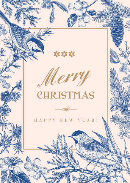 Christmas winter background. Christmas card with two birds and winter plants and berries. Christmas winter background. bird borders stock illustrations
