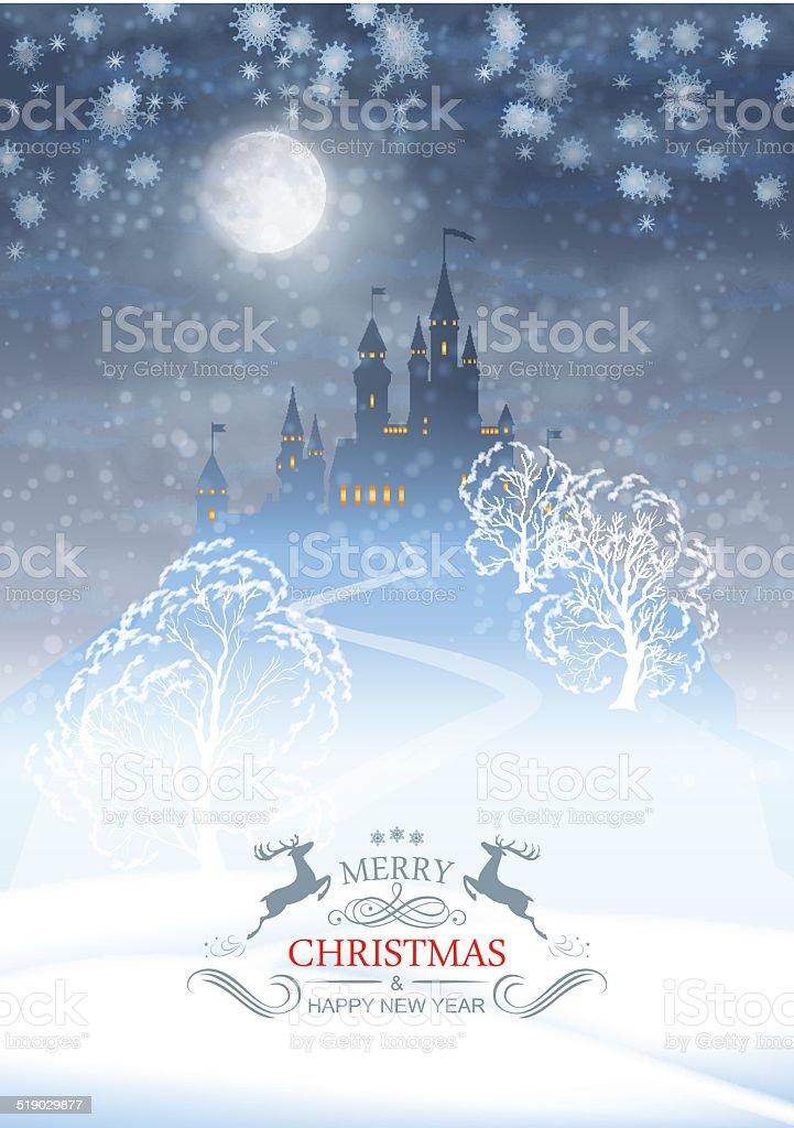 Christmas Winter Castle Moonlight Sky vector art illustration