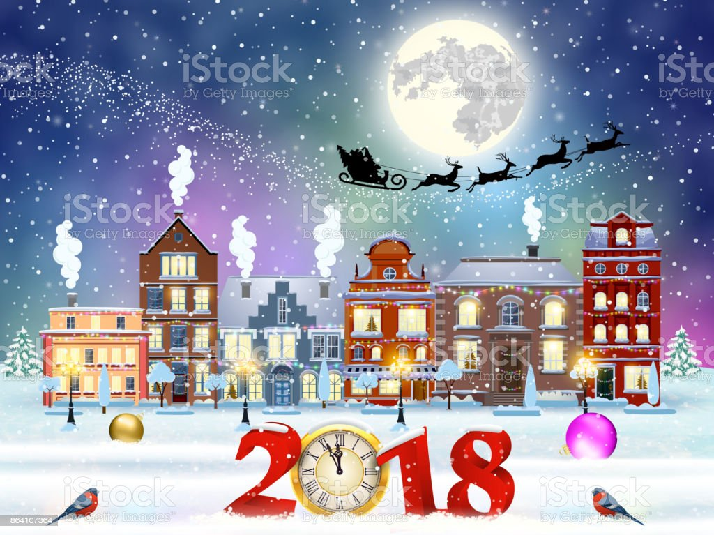 Christmas winter city street royalty-free christmas winter city street stock vector art & more images of 2018