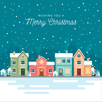 Christmas winter city street with small houses and trees on background. Its snowing. Flat style. Vector illustration.