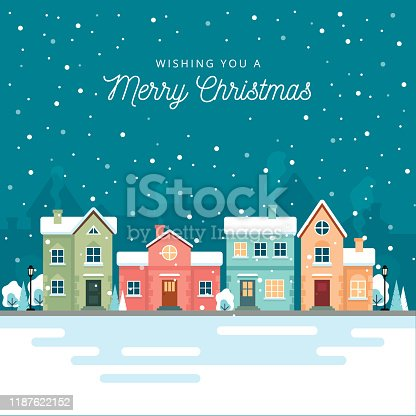 istock Christmas winter city street with small houses and trees on background. Its snowing. Flat style. Vector illustration. 1187622152