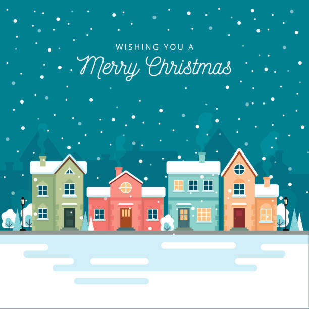 Christmas winter city street with small houses and trees on background. Its snowing. Flat style. Vector illustration. Christmas winter city street with small houses and trees on background. Its snowing. Flat style. Vector illustration. village stock illustrations