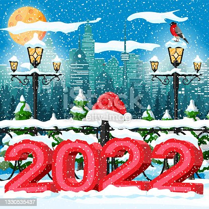 istock Christmas Winter Cityscape, Snowflakes and Trees. 1330535437
