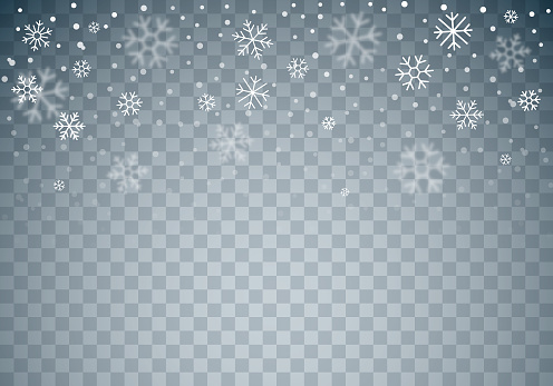 Christmas Winter Falling Snowflakes Transparent Background
