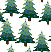 Christmas winter forest landscape. seamless pattern and background. Abstract Vector illustration.