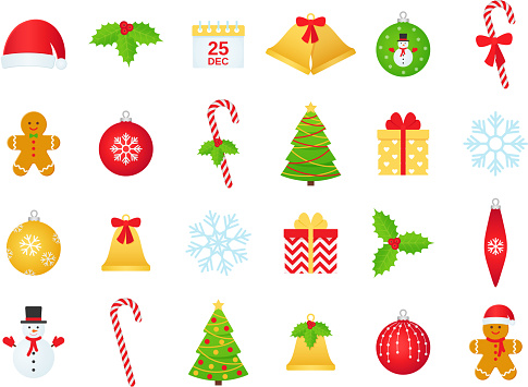 Christmas winter icon set. Vector illustration in flat design.