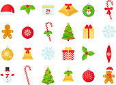Christmas icons. Vector. Winter icon set. Christmas decorations in flat design isolated on white background. Cartoon colorful illustration. Collection holiday symbols ball bell cane holly gingerbread.
