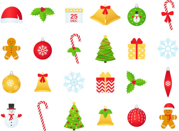 Christmas winter icon set. Vector illustration in flat design. Christmas icons. Vector. Winter icon set. Christmas decorations in flat design isolated on white background. Cartoon colorful illustration. Collection holiday symbols ball bell cane holly gingerbread. clip art stock illustrations