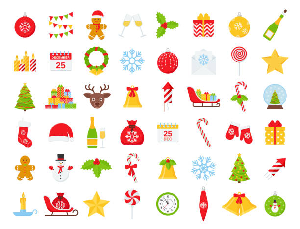 Christmas winter icon set. Vector illustration in flat design. Christmas icons. Vector. Winter icon set. Christmas decorations in flat design isolated on white background. Cartoon colorful illustration. Collection holiday red green symbols. christmas icons stock illustrations
