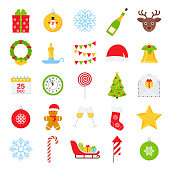 Christmas icons. Vector. Set of xmas winter decorations isolated on white background. Cartoon colorful illustration. Cute holiday red green symbols in flat design. Color objects.