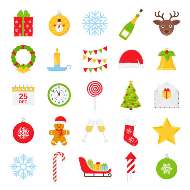 Christmas winter icon set. Vector illustration in flat design. Christmas icons. Vector. Set of xmas winter decorations isolated on white background. Cartoon colorful illustration. Cute holiday red green symbols in flat design. Color objects. clip art stock illustrations